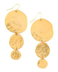 Kenneth Jay Lane | Metallic Hammered Disc Drop Earrings | Lyst