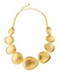 Kenneth Jay Lane | Metallic Matte Golden Circle Necklace | Lyst