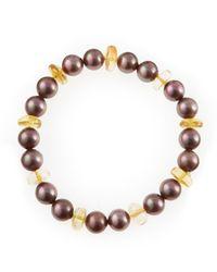 Majorica | Metallic Aubergine Pearl Bracelet | Lyst