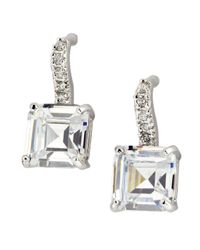 CZ by Kenneth Jay Lane | Metallic Cushioncut Cz Earrings | Lyst