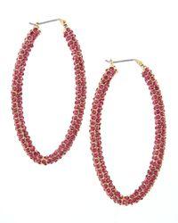 Fragments | Metallic Pave Oval Hoop Earrings Fuchsia | Lyst