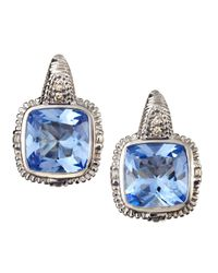 Judith Ripka | Metallic Roma Hoop Earrings Blue Quartz | Lyst