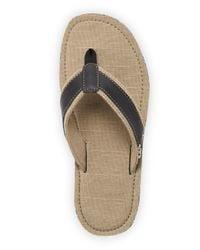 Original Penguin   Black Leather and Canvas Dune Thong Sandals for Men   Lyst