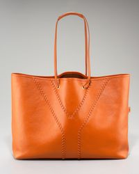 Saint Laurent | Orange Whipstitched Shopping Bag, Medium | Lyst