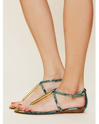 1d974c7868ba Lyst - Free People Archer Metal Sandal in Blue
