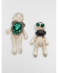 Marni | Green Multicolored Stone Accented Puppet Pin Set | Lyst