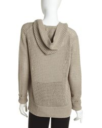 T By Alexander Wang - Gray Pointelle Hooded Cardigan - Lyst