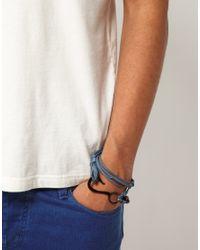 ASOS - Blue Leather and Fishhook Bracelet for Men - Lyst