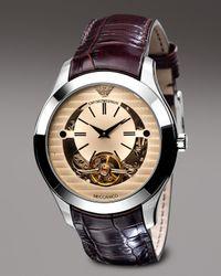 Emporio Armani | Brown Round Meccanico Watch  for Men | Lyst