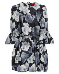 Lanvin | Black Floralprint Cotton and Silkblend Dress | Lyst