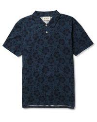 YMC   Blue Hibiscus Print Cotton Polo Shirt for Men   Lyst