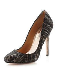 Badgley Mischka | Black Brynn Lace Pump  | Lyst