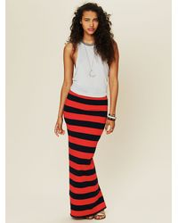 Free People | Red Stripe Column Convertible Skirt/dress in Black/tan Combo | Lyst