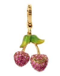 Juicy Couture | Metallic Golden Pave Cherry Charm | Lyst