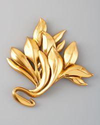Oscar de la Renta | Metallic Gold Leaf Brooch | Lyst