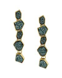 BCBGeneration | Green Drusy Linear Earrings | Lyst