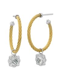 Charriol | Metallic White Topaz Gold Hoop Earrings | Lyst