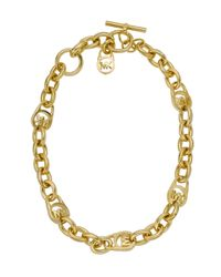 Michael Kors | Metallic Logo Link Necklace | Lyst