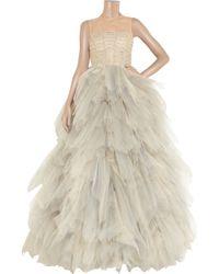 Oscar de la Renta - Natural Tulle Sleeveless Gown - Lyst