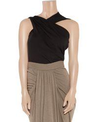 Rick Owens Lilies | Black Asymmetric Jersey Top | Lyst