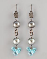 Wendy Brigode - Blue Topaz Pearl Drop Earrings - Lyst