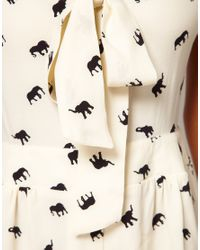 ASOS Collection | White Asos Pussybow Playsuit With Elephant Print | Lyst