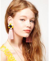 ASOS   Multicolor Flower Tassel Drop Earrings   Lyst