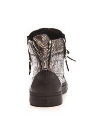 Giuseppe Zanotti | Silver Metallic Snake Embossed Sneakers | Lyst