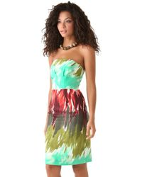 MILLY - Blue Brushstroke Print Kali Strapless Dress - Lyst