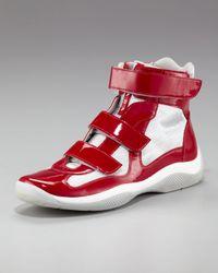 Prada | Red Grip-strap High-top Sneaker for Men | Lyst