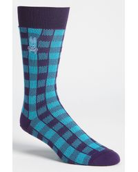 Psycho Bunny | Blue Golf Check Socks for Men | Lyst