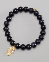 Sydney Evan - Diamond Hamsa Charm Beaded Bracelet Black - Lyst