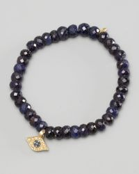Sydney Evan | Blue Diamond Evil Eye Charm Beaded Bracelet | Lyst