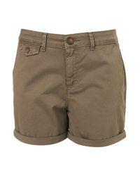 Topshop   Green Khaki Chino Shorts   Lyst