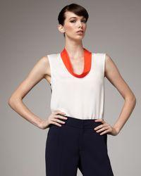 Rachel Roy - Cowl-neck Colorblock Blouse, White - Lyst