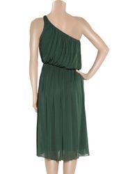 Halston | Green Ruched Silk-jersey One-shoulder Dress | Lyst