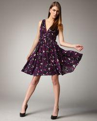 Halston | Purple Hibiscus-print Dress | Lyst