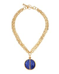 Paige Novick | Blue Small Medallion Necklace | Lyst