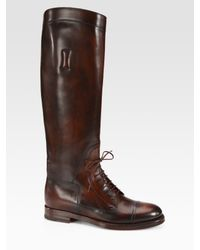 Gucci - Brown Boulanger Laceup Leather Boots - Lyst