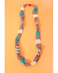 Nasty Gal - Blue Santa Fe Beaded Necklace - Lyst
