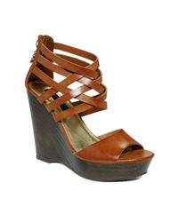 Material Girl - Brown Twister Wedge Sandals - Lyst