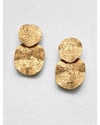 Oscar de la Renta | Metallic Hammered Disc Drop Clipon Earrings | Lyst