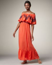 T-bags | Orange Embroidered Maxi Dress | Lyst