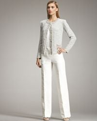 Armani - White Straight-leg Linen Trousers - Lyst