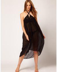 fa4f979e0 ASOS Asos 2 in 1 Chiffon Beach Skirt and Dress in Black - Lyst