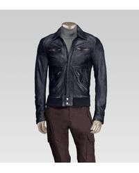 120642aae Gucci Sprayed Guccissima Bomber Jacket in Blue for Men - Lyst