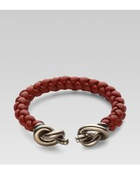 Gucci | Metallic Woven Leather Bracelet with Knot Details for Men | Lyst