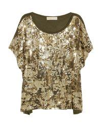MICHAEL Michael Kors | Metallic Camouflage-pattern Sequined Top | Lyst