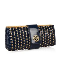 Tory Burch | Brown Rattan and Faux Patentleather Clutch | Lyst