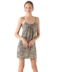 Tucker - Brown Shirred Cami Mini Dress - Lyst